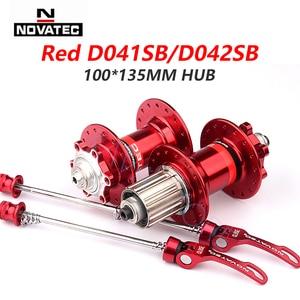 Image 5 - Novatec Hub D041SB D042SB VTT frein à disque 32 trous vtt route vélo roulement 36H moyeux 8/9/10/11/12 vitesse rouge noir