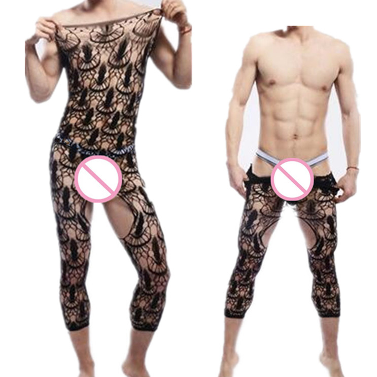 Male Underwear Sexy Men's Open Crotch Nightwear Porno Adult Male Lingerie Plus Size Man Stockings Summer Gay Fishnet Bodysuit
