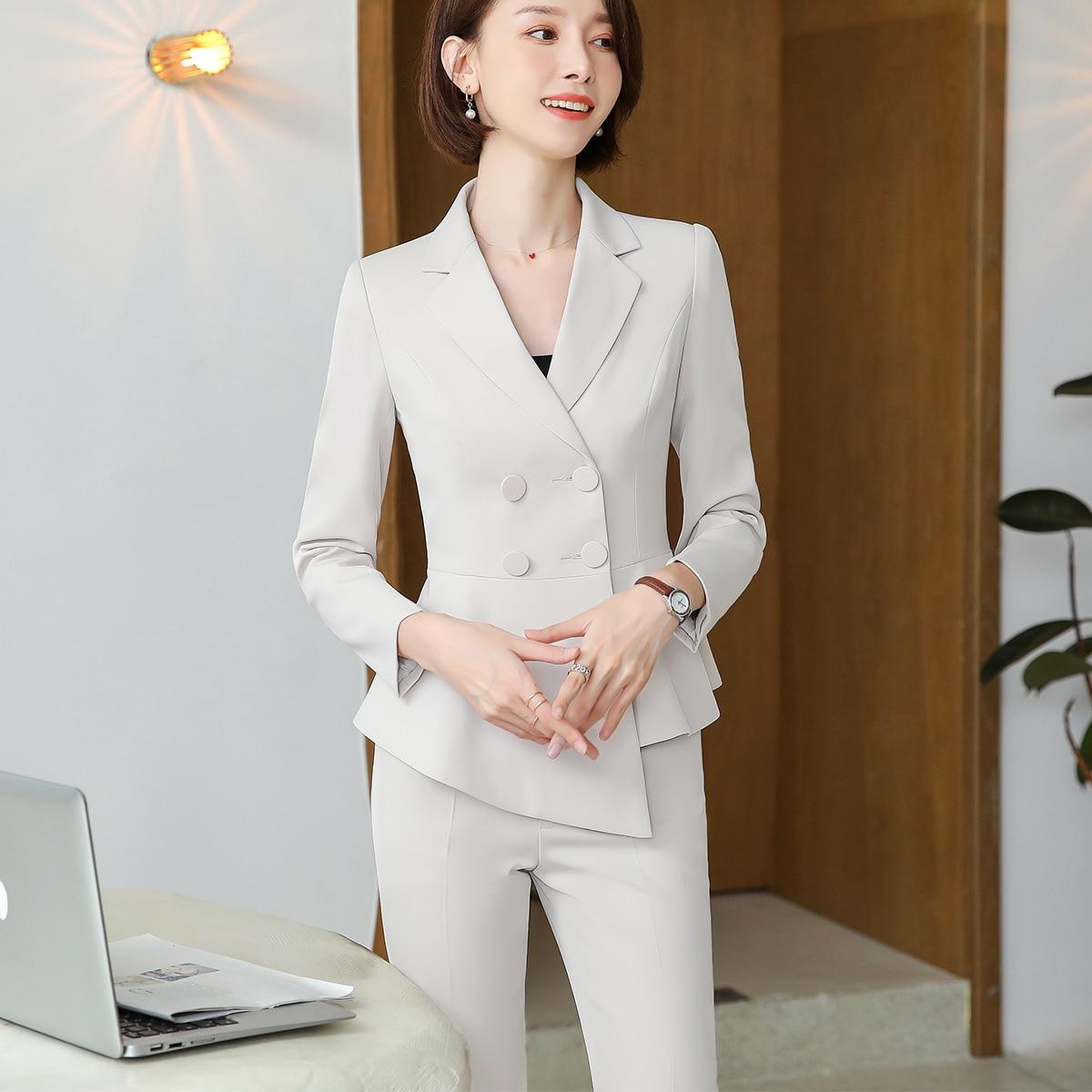 Female Elegant Formal Office Work Wear OL Women Pant Suit Career Wear Wine Ruffle Double Breasted Blazer Pant Suits 2 Pieces Set