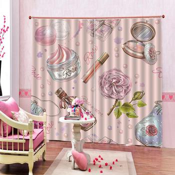 NEW Girly Shower Curtains Cosmetic Perfume and Lipstick Nail Polish Brush Printing Decorative Bedroom Home drapes