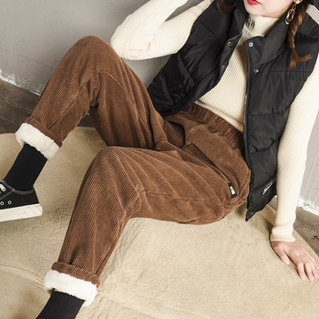 2019 New Corduroy Pants Female Carrot Autumn Winter Loose Thick Fleece Harem Plus Velvet Size M-3XL
