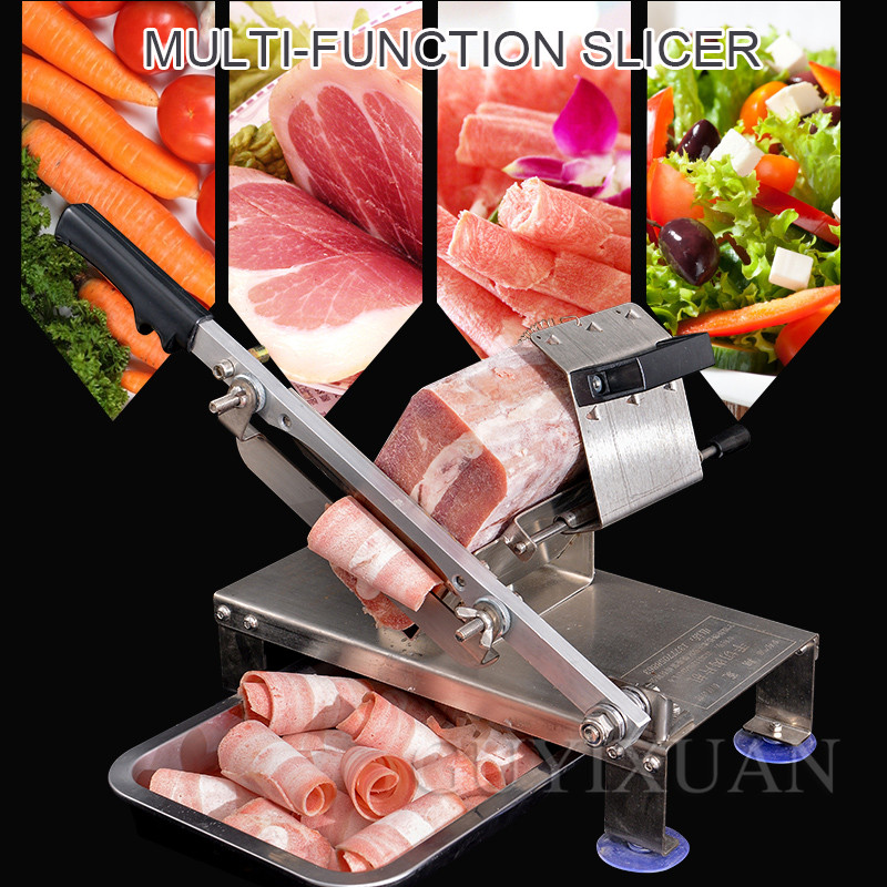 Manual Multifunction Household Mutton Slicer Frozen Meat Planing Machine Stainless Steel Meat Slicer Fat Beef Lamb Slice Cutter