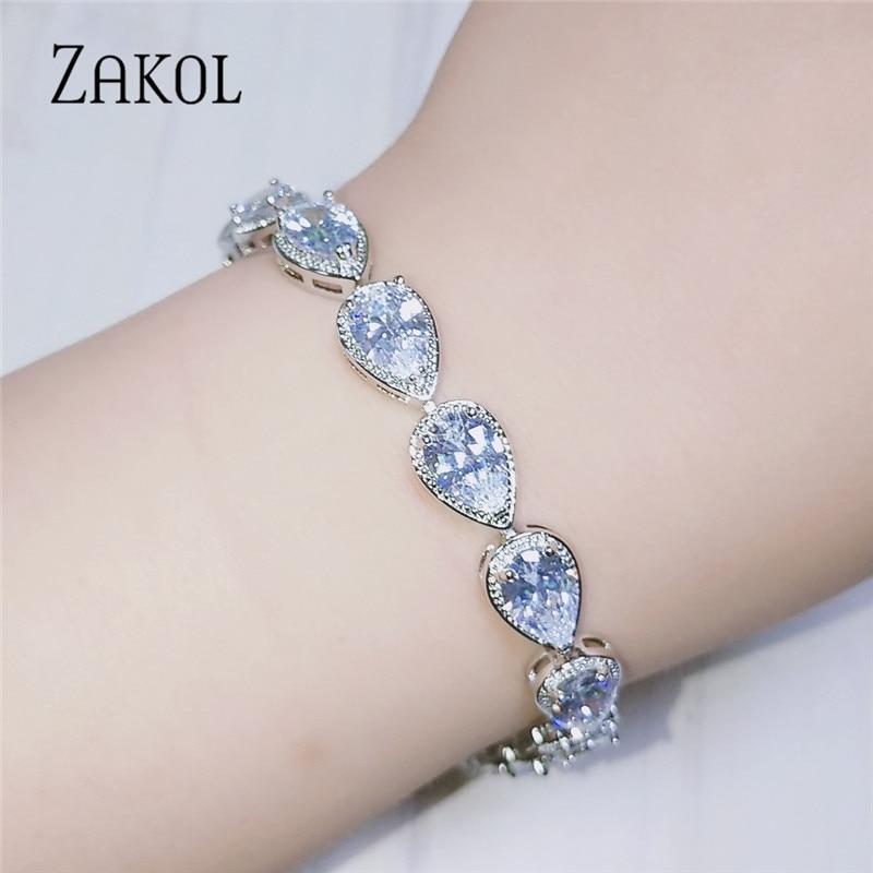 ZAKOL mode femmes accessoires de luxe zircon cubique goutte deau CZ pierre Bracelet Bracelet mariée bijoux de mariage cadeau FSBP055