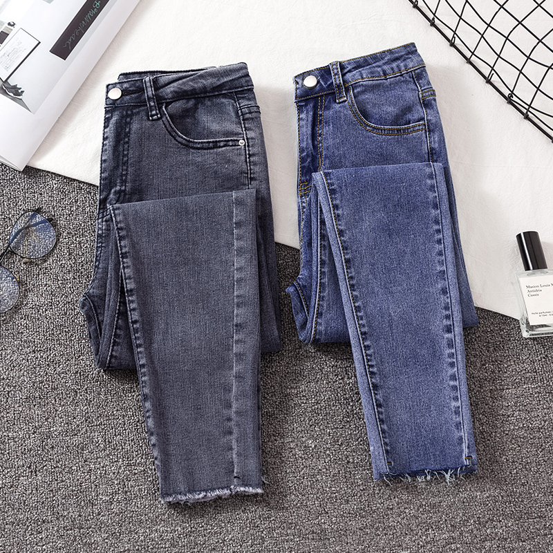 2020 New Woman Skinny Jeans Gray Blue Solid Elastic Denim Pencil Pants Woman Chic Casual High Waist Jean Female