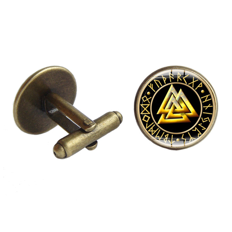 Foreign Trade Hot Sales Europe And America Retro Viking Northern European-Style Rune Time Stone Cufflinks Manufacturers Direct S