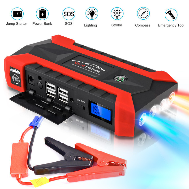 50^89800mAh Car Jump Starter Pack Booster LCD 4 USB Charger Battery Power Bank New For Car Battery Charger Buster Powerbank