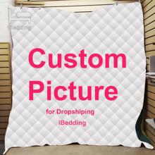 Spersonalizowany nadruk kołdra koc podwójne pełne Queen duży rozmiar Dropshipping tanie tanio iBedding Domu 100 poliester Dorosłych Lato Mechanicznej wash Drukowane Quilt Blanket 400tc Szycie