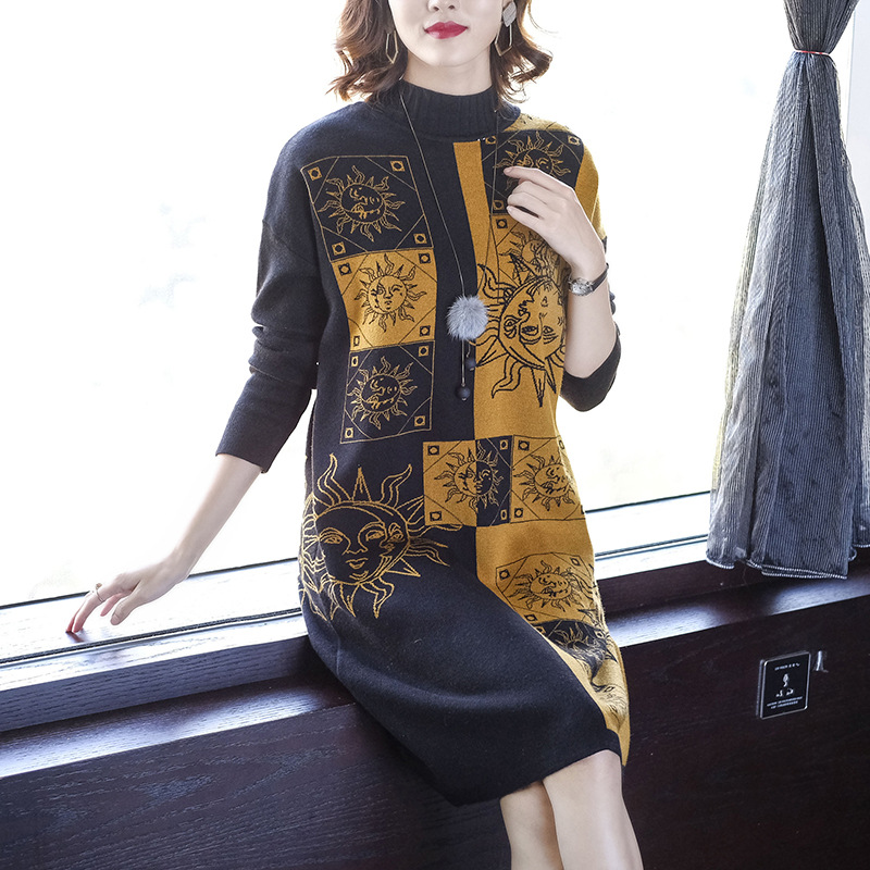 Europe And America 2019 Korean-style Loose And Plus-sized Autumn And Winter Dress Women's Mid-length Elegant-Style Base Knitted