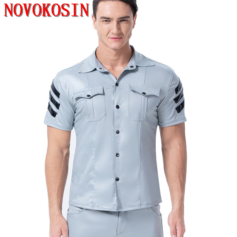 XX158 S-3XL 2019 Fashion Light Color Faux Leather Men Sexy Two Pockets Tops Tees DS Motorbike Short Sleeves Shirts With Button