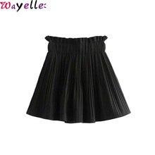 Vintage Plaid Pleated Mini Skirts  Women Houndstooth Elastic Paperbag High Waist Ladies Sexy Elegant Shorts