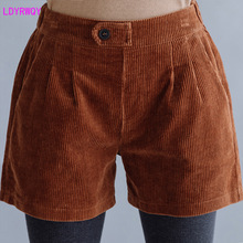 2019 autumn and winter new womens large size literary thickening corduroy loose hundred matching boots shorts