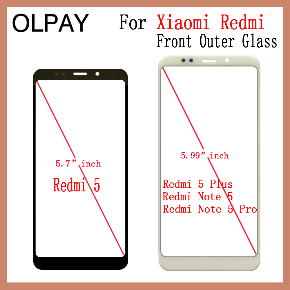 Front Outer Glass For Xiaomi Redmi 5 Redmi 5 Plus Redmi Note 5 Redmi Note 5 Pro Touch Screen LCD Display Glass Replacement