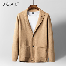 UCAK Brand Casual Cardigans Men Clothes  Button Pockets Sweatercoat Clothing Streetwear Solid Color Cardigan Pull Homme U1179