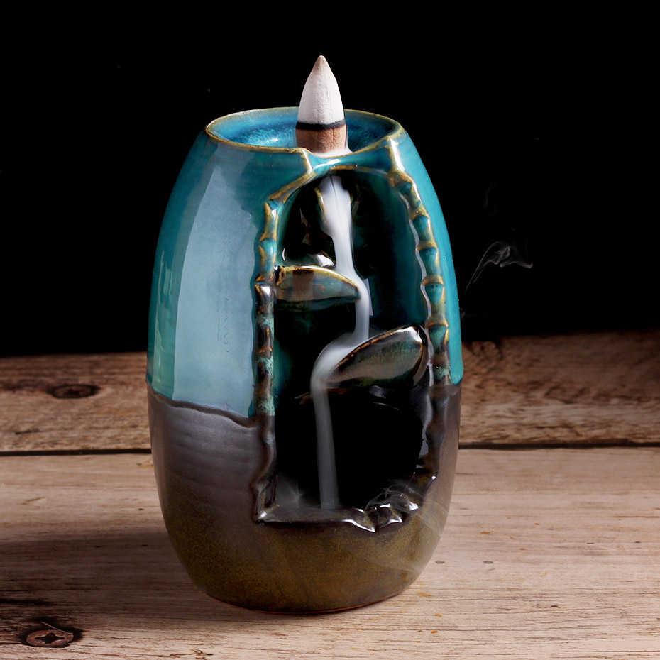 Dorp جبل نهر الحرف اليدوية حامل البخور السيراميك ارتداد شلال الدخان مبخرة المبخرة حامل هدية ديكور المنزل