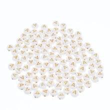 Chongai 100 pçs oblate acrílico carta contas único alfabeto branco ouro carta redonda pulseira jóias contas & jóias fazendo 4*7mm
