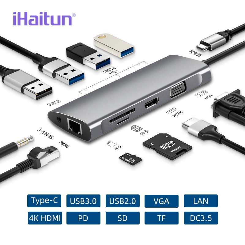 IHaitun USB HUB C To Multi USB 3.0 4K HDMI Adapter Dock For Macbook Pro Type C PD VGA SD TF DC3.5 For Huawei 30 Samsung Port 3.1