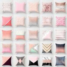Novo nórdico geométrico rosa de ouro rosa almofada casos criativo fronha sofá cama assentos almofadas decoração para casa cogines para el sofá