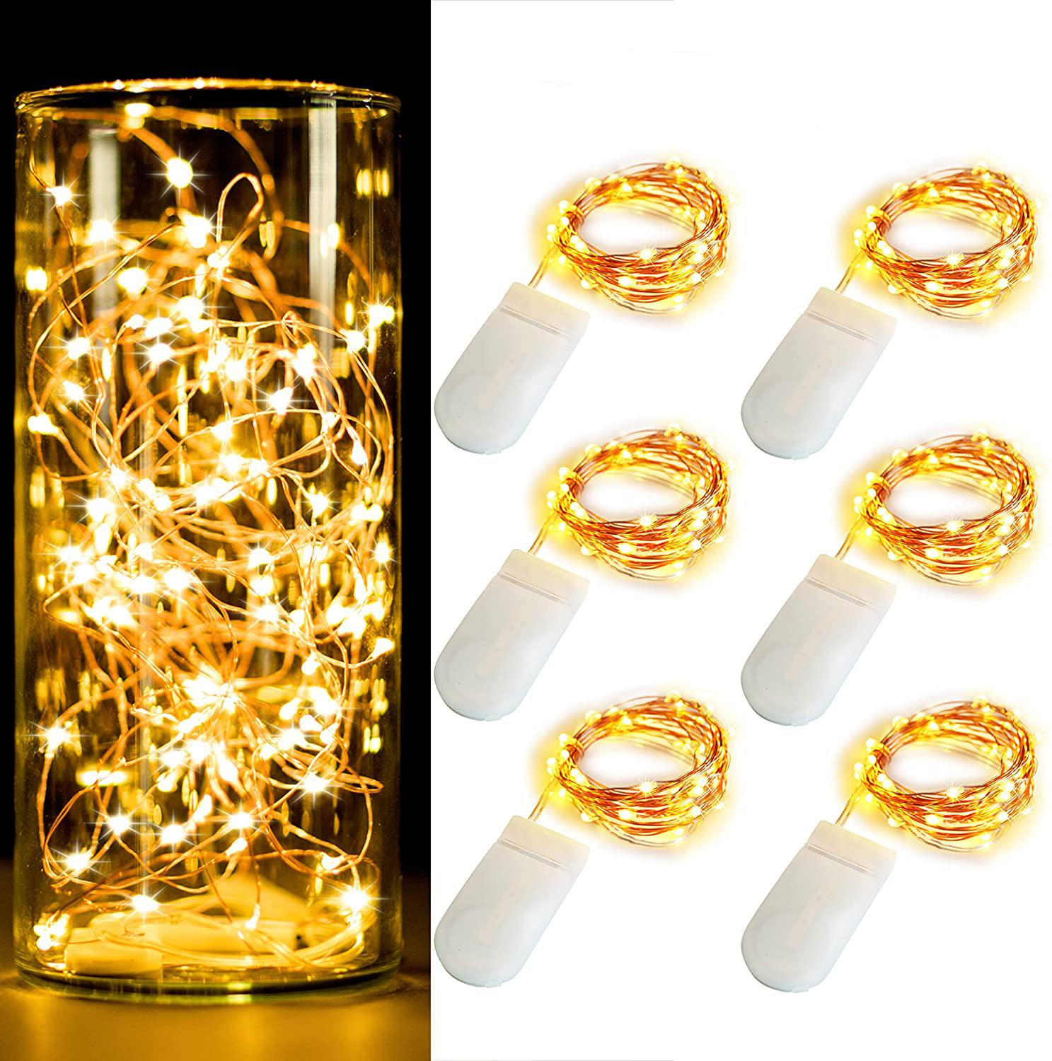 10pcs/lot 1M 2M 3M 5M LED Copper Wire String Light 2*CR2032 Battery Powered Christmas Wedding Party Ramadan Decoration Light