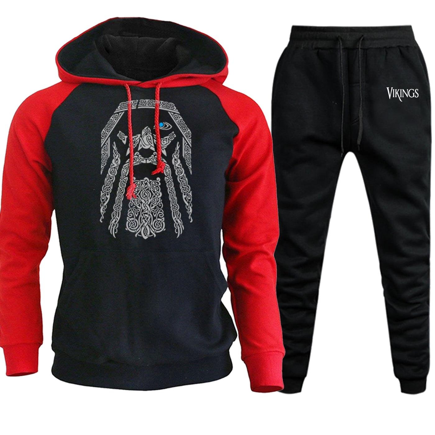Autumn New Hooded Mens Raglan Sweatshirts Odin Vikings Casual Pullover Hip Hop Streetwear Male Suit Hoodie+Pants 2 Piece Set