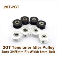 POWGE  20 Teeth 2GT Idler Pulley Bore 3/4/5mm For Width=6mm GT2 2M Belt 20T 20Teeth GT2 Passive Pulley With Bearing 20-2GT