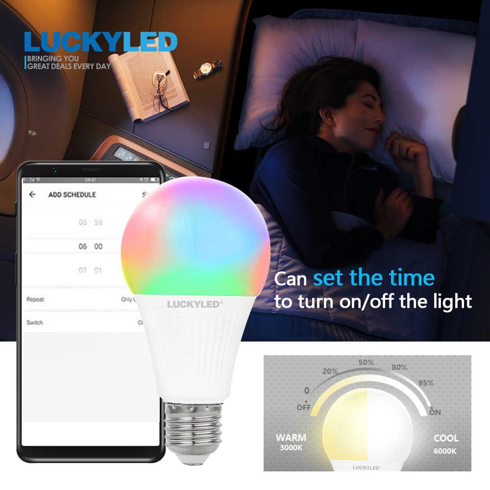 LUCKYLED 7W 9W bombilla inteligente WiFi APP Control Led lámpara E27 Bombillas regulable bombilla Led 220v 240v 110V RGB + W + WW RGB lampada