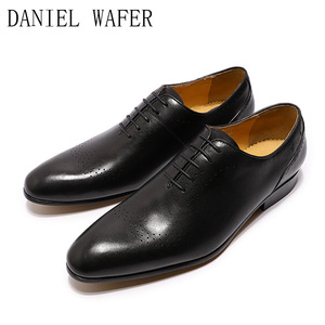 Image 3 - Design de mode hommes Oxford en cuir véritable chaussures noir marron à lacets pointu bureau de mariage de luxe hommes chaussures habillées pour chaussures