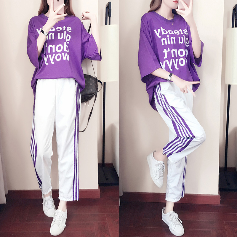 Casual Sports WOMEN'S Suit 2019 Summer New Style Loose-Fit Women's Shinko Kong-Style BF Online Celebrity Fashion Loose Pants Two