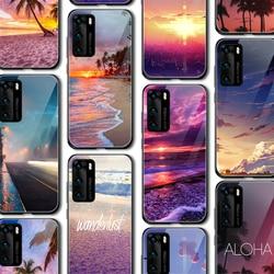 Zmierzch plaża zachód słońca blask przypadki dla Huawei P30 P20 P40 P inteligentny Z 2019 Honor 20 10 9 9X Pro Mate 30 20 Lite Pro Nove 5T szklana osłona
