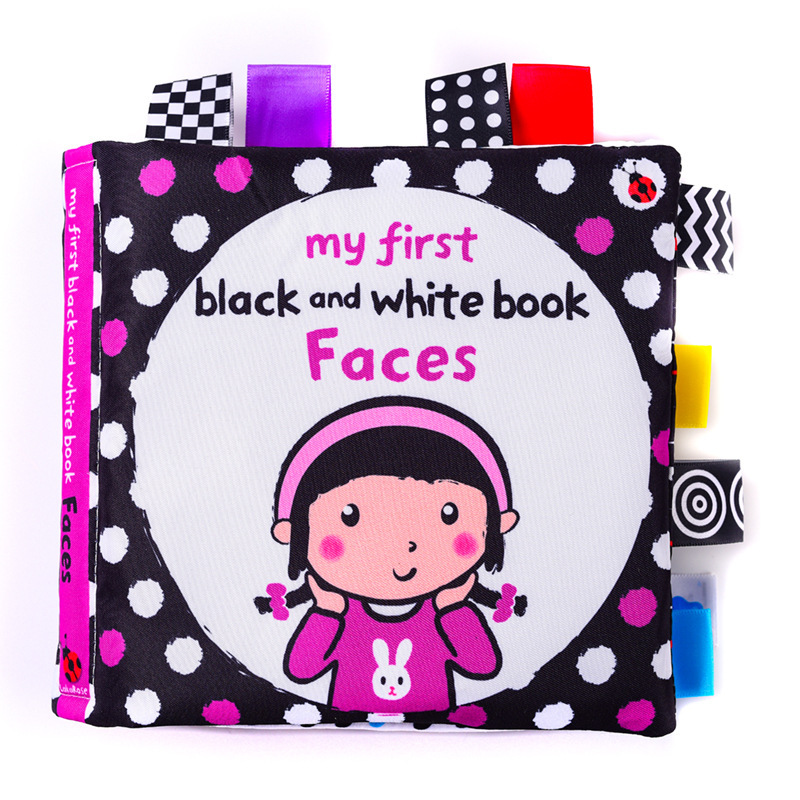 LakaRose Baby Black and White Label Cloth Book Newborn Infant Early Education Books Cloth Quiet Books 5