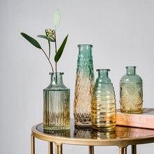 European Retro Roman Relief Art Glass Vase Indoor Office Table Plant Flower Home Decoration Accessories Transparent Glass Vase