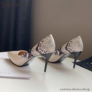 Image 5 - 9Cmผู้หญิงBeigeปั๊มส้นงูพิมพ์เซ็กซี่Party Promรองเท้าผู้หญิง2020แฟชั่นSliverสีชมพูรองเท้าส้นสูงA0 172