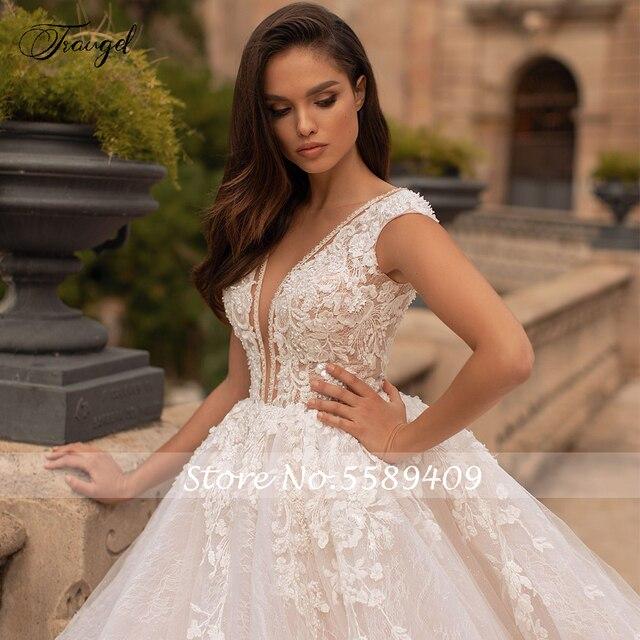 Traugel Vestidos De Novia Backless Lace Ball Gown Wedding Dresses Sexy V Neck Appliques Beaded Chapel Train Vintage Bridal Gowns 3