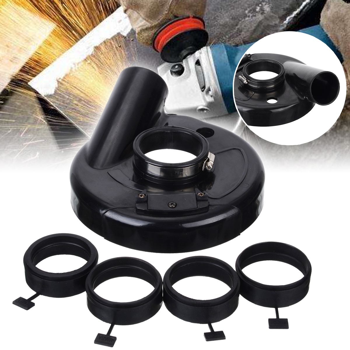 """Vacuum Dust Shroud Grinder Grinding Dust Cover for 7"""" Angle Grinder Hand Grinding Power Tool Accessory"""