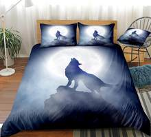 3Pcs Wolf Bedding Boys Animal Duvet Cover Set White Moon Home Textiles Howl Wolf Bed Set Queen Black Dropship(China)