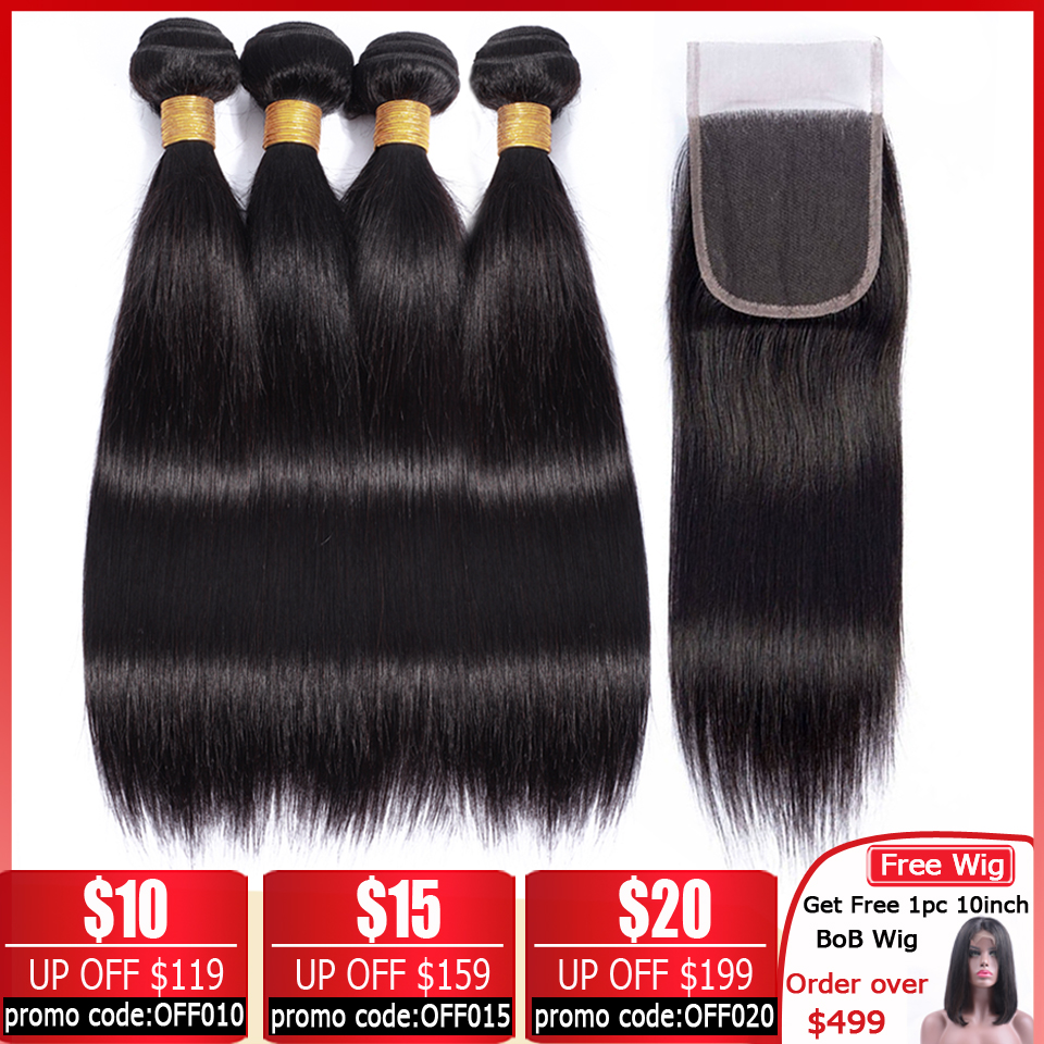 Lanqi Straight Hair Bundles With Closure 100% Human Hair Weave Bundles With Closure Non-remy Peruvian Hair Bundles With Closure