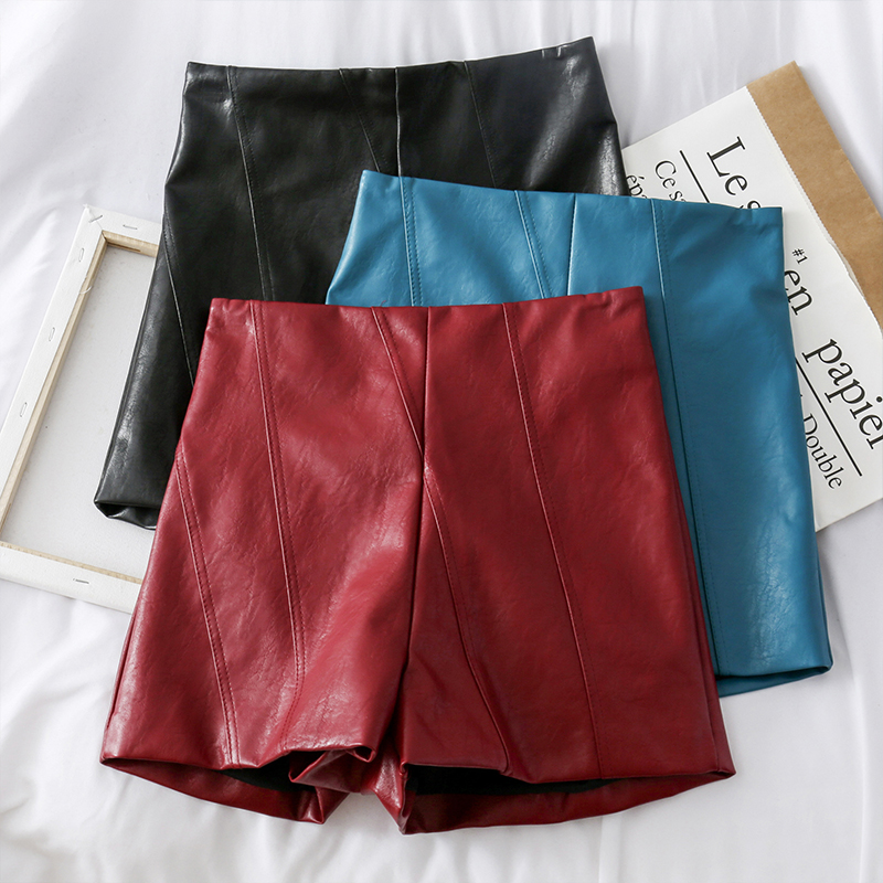 Women's PU Leather Shorts High Waist Solid Color Slim Shorts Autumn Fashion Casual Street Hot Short Pants Short Trousers