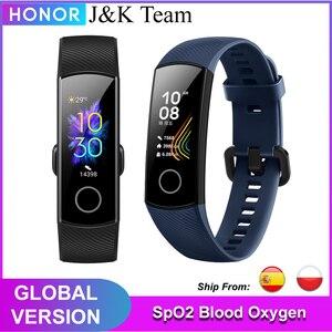 Image 1 - Honor band 5 banda inteligente versión Global de oxígeno en la sangre smartwatch AMOLED Huawei banda inteligente corazón ira ftness dormir rastreador