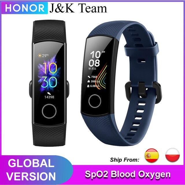 Honor band 5 banda inteligente versión Global de oxígeno en la sangre smartwatch AMOLED Huawei banda inteligente corazón ira ftness dormir rastreador