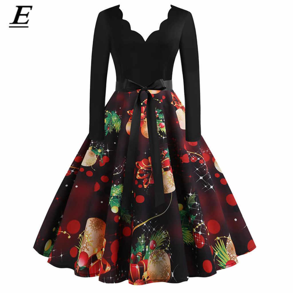 Frauen Winter Langarm Vintage Weihnachten Kleid Schwarz Rot Print V-ausschnitt Sexy Xmas Party Kleid Robe Elegante Pin Up vestidos S-3XL