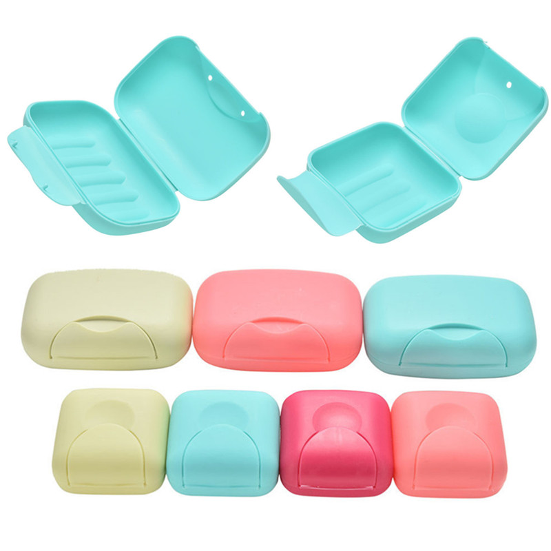 Plastic Travel Soap Box Dish Plate Case Hiking Holder Useful Soap Box Container Bath Products S/L Size