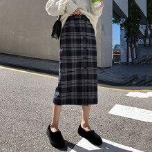 Женская Осенняя серая клетчатая юбка в стиле ретро, женская зимняя Корейская стильная повседневная элегантная облегающая юбка с высокой талией размера плюс 2XL jupe femme