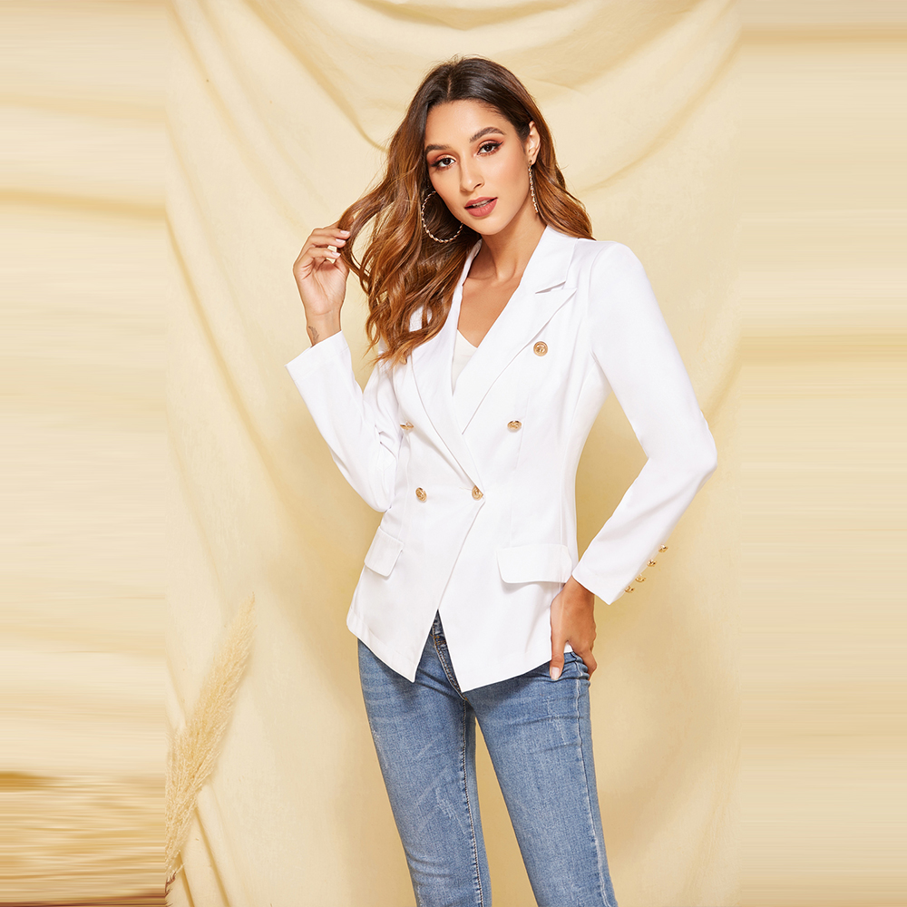 Fashion Double Breasted Warm Thick Blazer Women Autumn Winter Casual Long Sleeve Buttons Elegant Slim Solid Office Jackets Coat