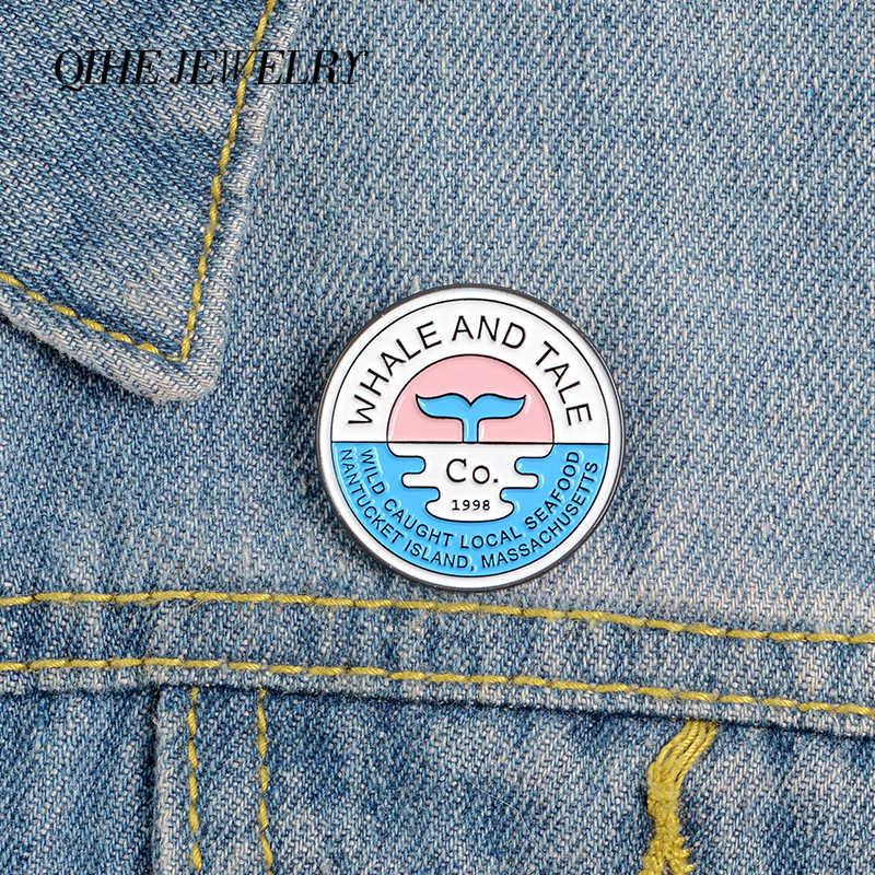 "Qihe Perhiasan ""Whale dan Kisah"" Pin Bulat Kerah Pin Ocean Sunset Trendi Bros Lencana Denim Pakaian Tas Pin hadiah untuk Teman-teman"