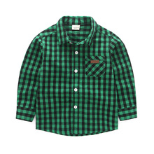 Baby Blouse Toddler Plaid Shirts Summer Outfits Boy Long Sleeve Tops Children Print Button Kids Blouses Shirt