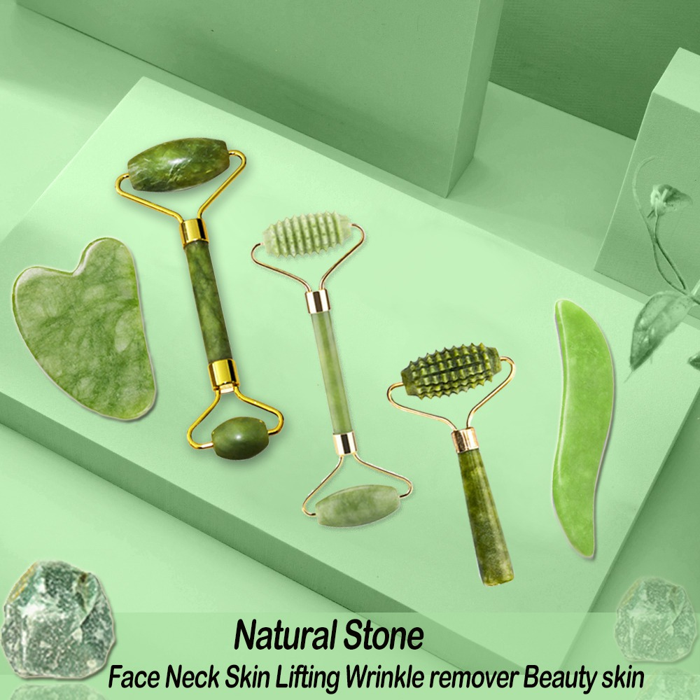 Natural Face Massager Gua Sha Jade Roller Face Massage Tool Set Face For Massager Guasha Facial Neck Skin Beauty Care Set 1