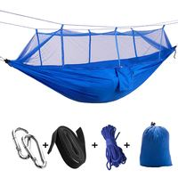 Portable High Strength Parachute Fabric Camping Hammock Hanging Bed With Mosquito Net Sleeping Hammock Blue| |   -