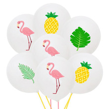 AVEBIEN 12inch Wedding Party Latex Balloons Flamingo Turtle Back Leaf Color Printing Balloon Birthday Hawaiian Decor