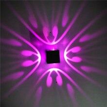 Светодиодный настенный светильник с квадратной бабочкой для помещений, креативный светильник с эффектом, светильник для бара, фоновая настенная декоративная лампа 1w