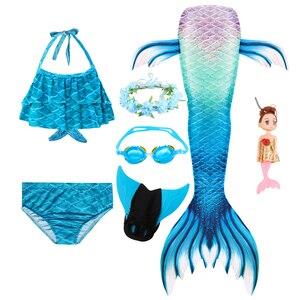 Image 2 - Queue de sirène pour filles, Costume de sirène nageuse avec aileron, guirlande de lunettes et poupée sirène pour enfants, nouvelle collection, à la mode