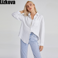 Lizkova White Blouse Women Long Sleeve Oversized Shirt Female 2021 Spring Pocket Official Tops Blusas Roupa 8866